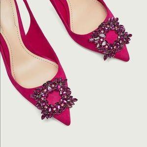 Zara women crystal pink shoes